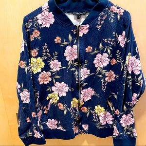 Floral long sleeve zip up